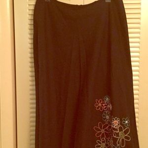 All Cotton 18W Black Skirt Embroidered flowers